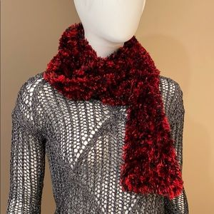"""68"""" x 4"""" black and red stretchy textured S carf"""